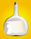 Bottle with a letter. On an orange background Stock Photography