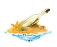 Bottle with a letter in the sand. Illustration on white background Royalty Free Stock Photo