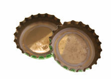 Bottle lids. Isoalted image of two bottle lids together Stock Photography