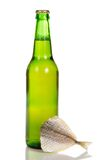 Bottle of light beer and the salty fish Stock Photos