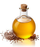 Bottle of linseed oil Stock Photos