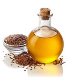 Bottle of linseed oil Stock Photography