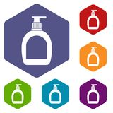 Bottle with liquid soap icons set hexagon Stock Image