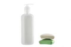 Bottle of liquid soap and two bars of soap on white background Royalty Free Stock Image