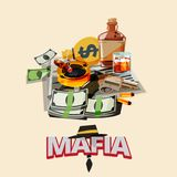 Bottle of liquor, cigarette on ashtray, newspaper, gun with bull. Et, money. mafia and gangster concept - vector illustration Stock Photography