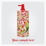 Bottle of lotion, made of the leaf pattern. Royalty Free Stock Images