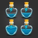 Bottle of magic elixir with energy symbol. Bottle with magic elixir. Energy potion. Game items Stock Photography