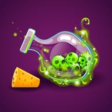 Bottle of magic elixir with skull-2. Bottle of magic elixir with skull. Game design illustration Stock Images