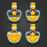Bottle of magic elixir with star. Game design illustration Royalty Free Stock Image