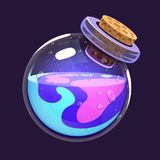 Bottle of magic. Game icon of magic elixir. Interface for rpg or match3 game. Blue and violet. Big variant. Stock Photography