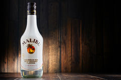 Bottle of Malibu Caribbean Rum with coconut flavour. POZNAN, POLAND - JULY 27, 2016: Malibu Rum is a flavored rum-based liqueur made with natural coconut extract Royalty Free Stock Photos