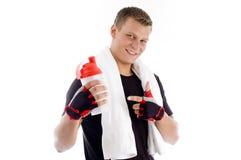 bottle man muscular pointing smiling water Στοκ φωτογραφία με δικαίωμα ελεύθερης χρήσης
