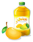 A bottle of mango juice. Illustration of a bottle of mango juice on a white background Stock Image