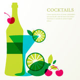 Bottle and martini glass with lime, cherry fruits. Abstract vect Stock Photos