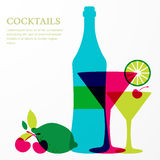 Bottle and martini glass with lime, cherry fruits. Royalty Free Stock Photos