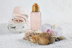 Bottle with massage oil Stock Images