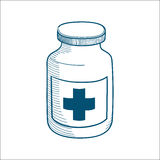 Bottle with medical cross sign isolated on white. Royalty Free Stock Photography