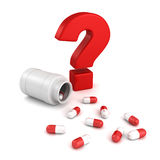 Bottle for medical pill tablets with red question mark Royalty Free Stock Photo