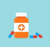 Bottle with medical pills icon tablets.Useful for medical, pharm Royalty Free Stock Photos