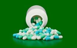 Bottle medicine pill spilling Stock Photos