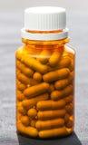bottle of medicine pills. Brown bottle of medicine pills Royalty Free Stock Image