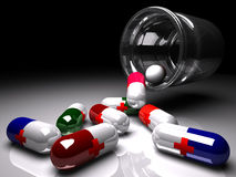 Bottle with medicines, 3d render. Bottle with medicines spilling out,3d render vector illustration