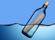 Bottle with message. royalty free stock photography