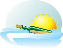 A bottle with a message floating in the waves of the sea against. The sun. Bright pretty icon Stock Photography