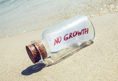 Bottle with a message No growth Royalty Free Stock Photography