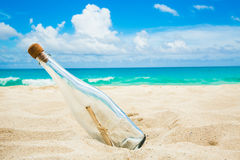 Bottle with a message on a shore Royalty Free Stock Photos
