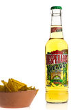 Bottle of Mexican Desperados Verde beer with nachos Royalty Free Stock Photography