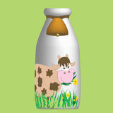 Bottle with milk. Happy cow on bottle with milk vector illustration