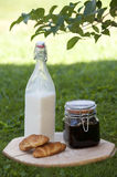 Bottle of milk. Jam and two croissants Stock Image