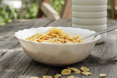 Bottle of milk and bowl of cornflakes Stock Photography