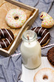 Bottle of milk and colorful donuts with chocolate Stock Photo