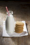 Bottle of Milk and Cookies. Royalty Free Stock Images