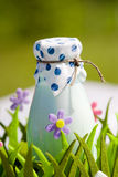 Bottle of milk in decorative basket with flowers Royalty Free Stock Photo