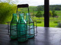 Bottle of milk. Milk bottle on the farm table - Brazil Stock Photo