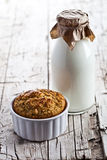 Bottle of milk and fresh baked bread Royalty Free Stock Photography