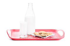 Bottle of milk with glass and cookies. Bottle of milk with filled glass and cookies on a platter, isolated on white background Stock Photography