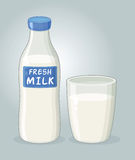 Bottle of Milk and a Glass of Milk Vector Stock Photo