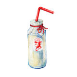 Bottle of milk. Hand drawn watercolor painting on white background Royalty Free Stock Photo