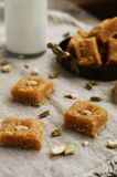 Bottle of milk and homemade burfi - traditional indian sweet Royalty Free Stock Photography