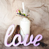 Bottle of milk and sliced bread Royalty Free Stock Photos