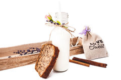 Bottle of milk and sliced bread Stock Photography