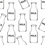 Bottle of milk. Vector seamless background. For design Royalty Free Stock Photo