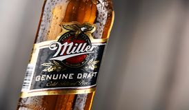 Bottle of Miller Genuine Draft beer. POZNAN, POLAND - DEC 8, 2017: Miller Genuine Draft is the original cold filtered packaged draft beer, a product of the Stock Photos