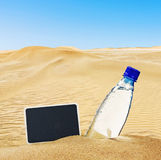 Bottle of mineral water on the sand Stock Image