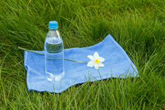 Bottle of mineral water,towel and  flower of narcissus on green. Bottle of mineral water,blue towel and white and yellow color daffodil on green grass Stock Images