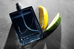 Bottle of modern male perfume and citrus slices. On grey textured background Stock Photo